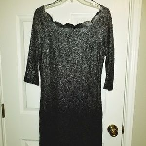 sz 10 Formal dress with sleeves navy blue & silver